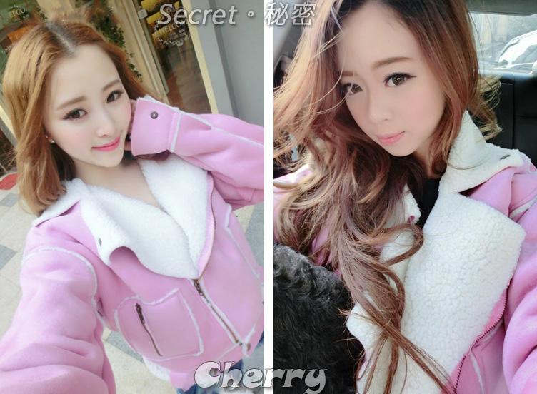 韓版代購麂皮絨羔羊毛內裡寬版保暖飛行員夾克外套