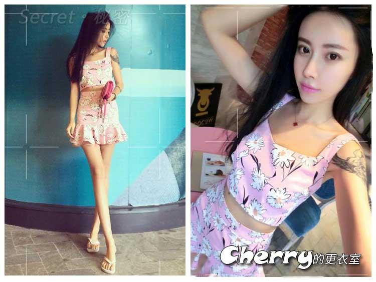 韓版花朵粉後拉鏈顯瘦高腰套裝短裙