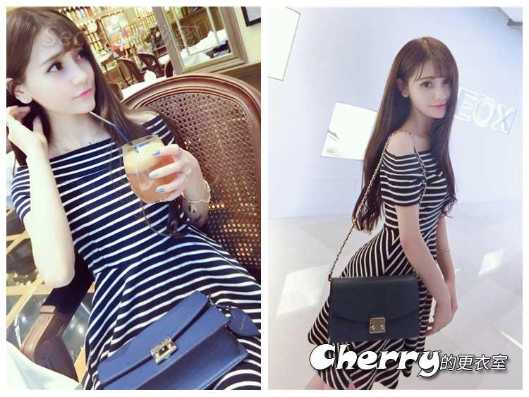 韓版公主風甜美一字領露肩條紋收腰短袖連衣裙子