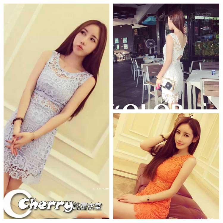 泰國潮牌露背小心機鏤空蕾絲連身裙