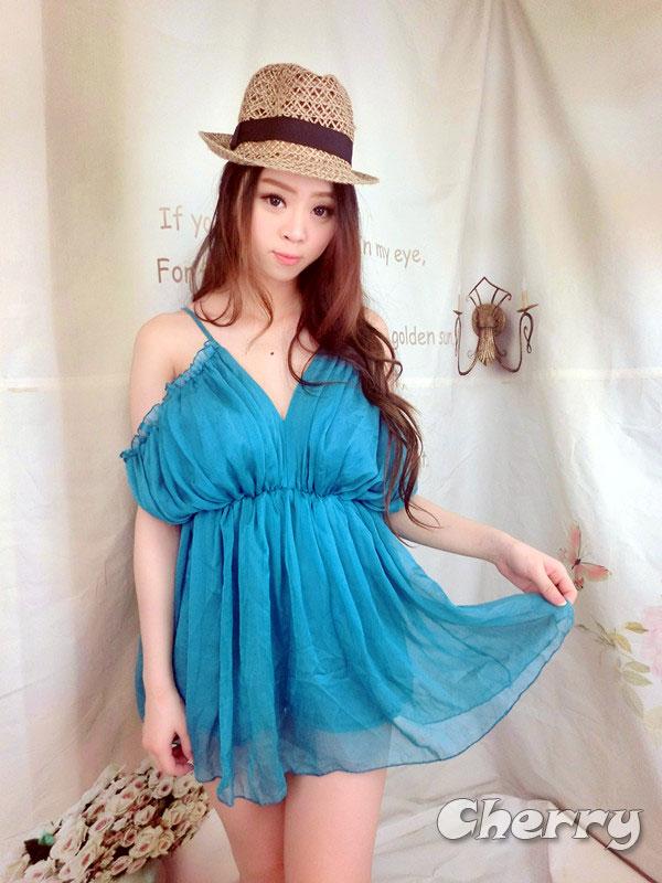 公主吊帶V領甜美風雪紡連身褲裙洋裝