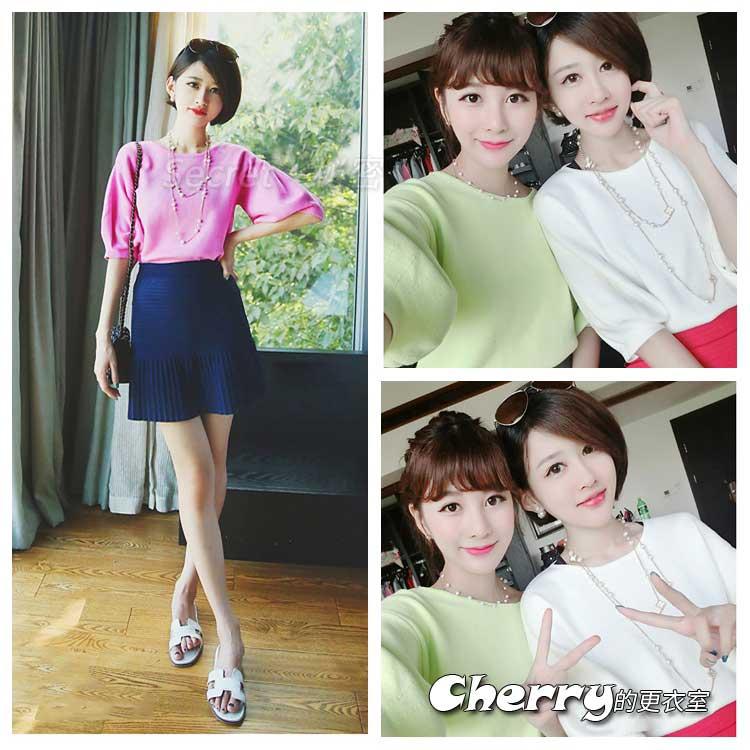 時尚純色甜美套頭五分袖燈籠袖寬鬆顯瘦短款針織衫