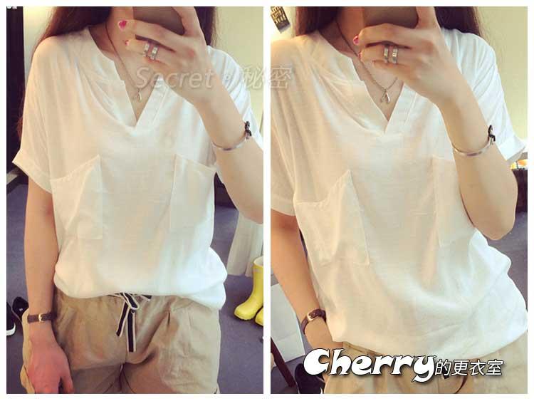 韓版短袖寬鬆棉麻上衣襯衫T恤打底衫
