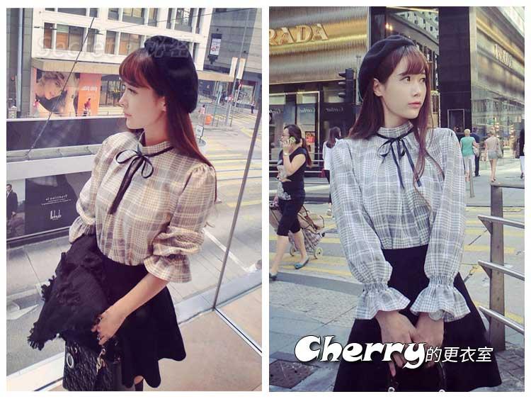 韓版甜美風蝴蝶結格子紋喇叭袖五分袖襯衫娃娃衫