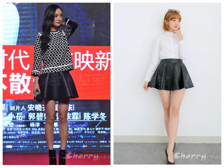 韓版高腰百褶皮裙半身裙pu皮短裙蓬蓬裙傘裙