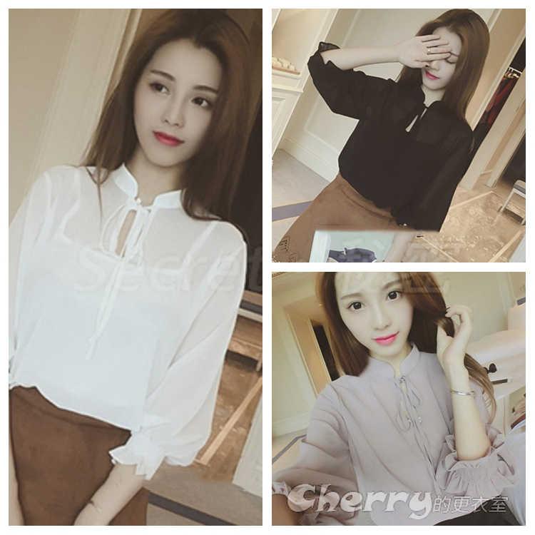 韓版立領泡泡袖透視雪紡衫襯衫上衣