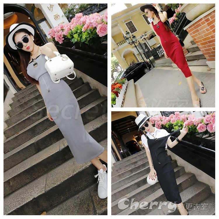韓版針織吊帶連身裙收腰長裙
