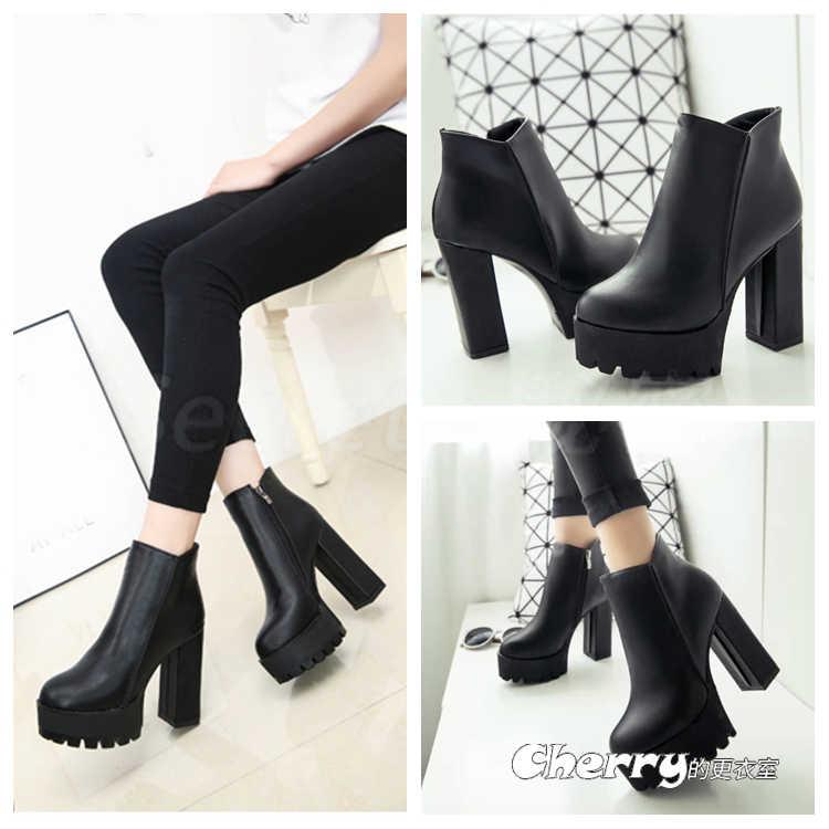 圓頭側拉鍊粗跟短筒靴子超高跟女靴騎士靴
