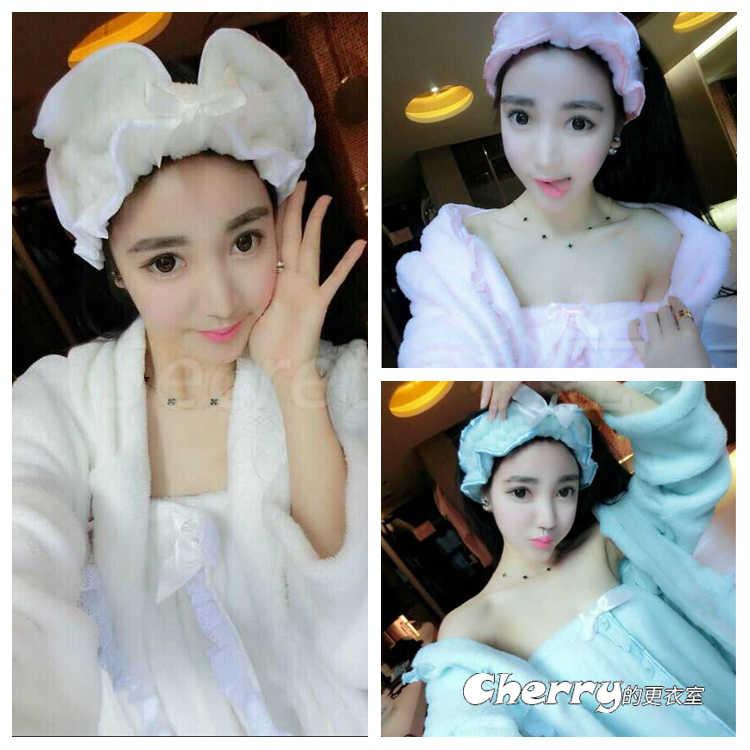 韓版可愛頭巾長袖睡袍睡衣睡裙三件套裝