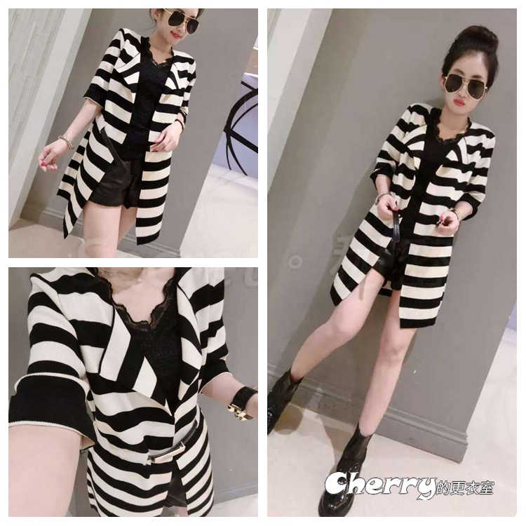 韓版英倫風七分袖黑白條紋五分袖中長款風衣外套