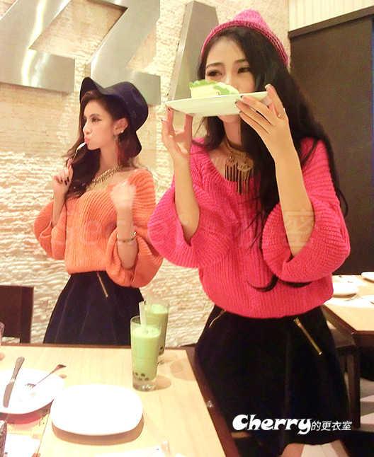 韓版寬鬆一字領露肩燈籠袖針織毛衣