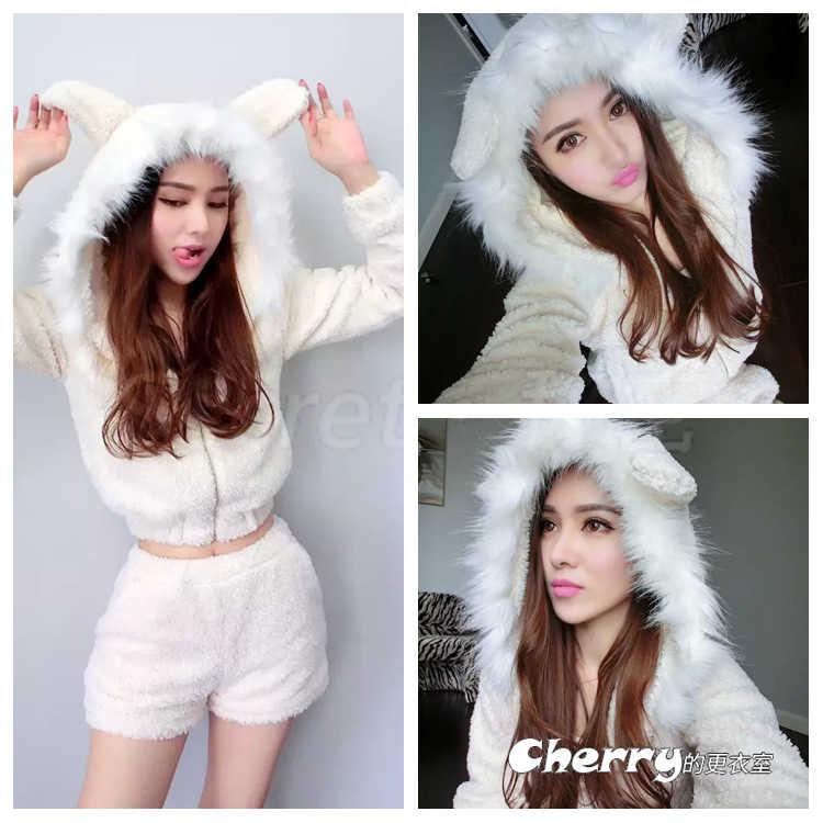 甜美羊羔絨毛毛領連帽耳朵外套+短褲套裝