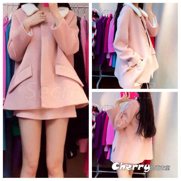 韓版甜美款學生風白色娃娃領長袖中長款毛呢外套