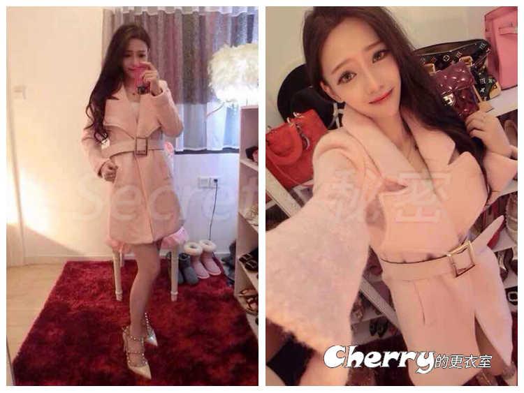 韓版粉色甜美中長款毛呢外套附腰帶