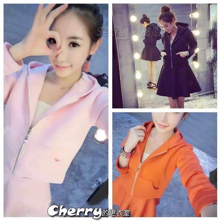 韓版耳朵連帽外套+太空棉高腰傘裙蓬蓬裙兩件套裝