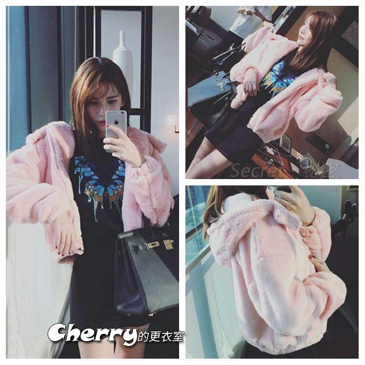 韓版粉色長袖加厚連帽短款外套