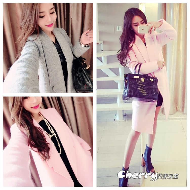 韓版中長款大衣毛呢氣質大衣外套
