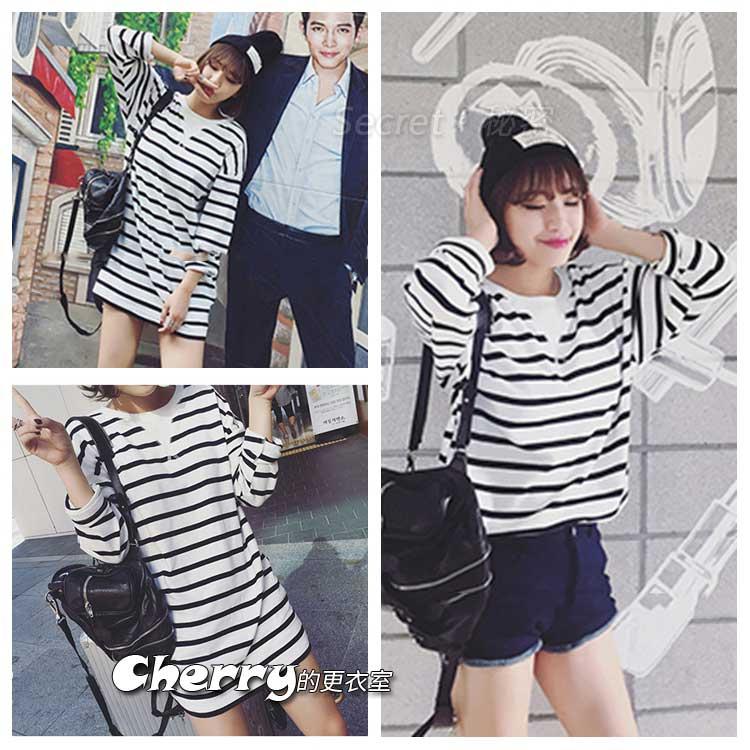 韓版中長款長袖棉打底衫T恤 可變連身裙