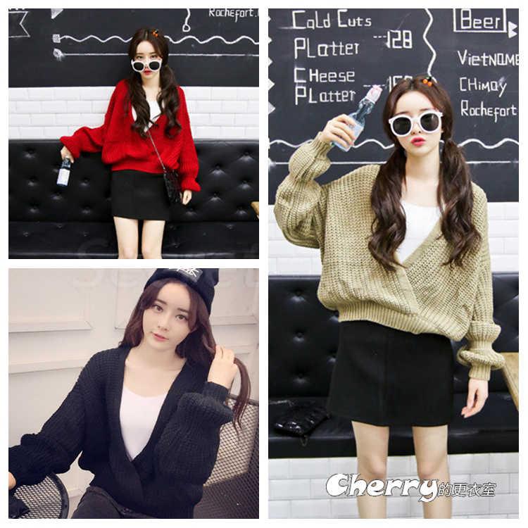 韓版V領長袖罩衫針織毛衣