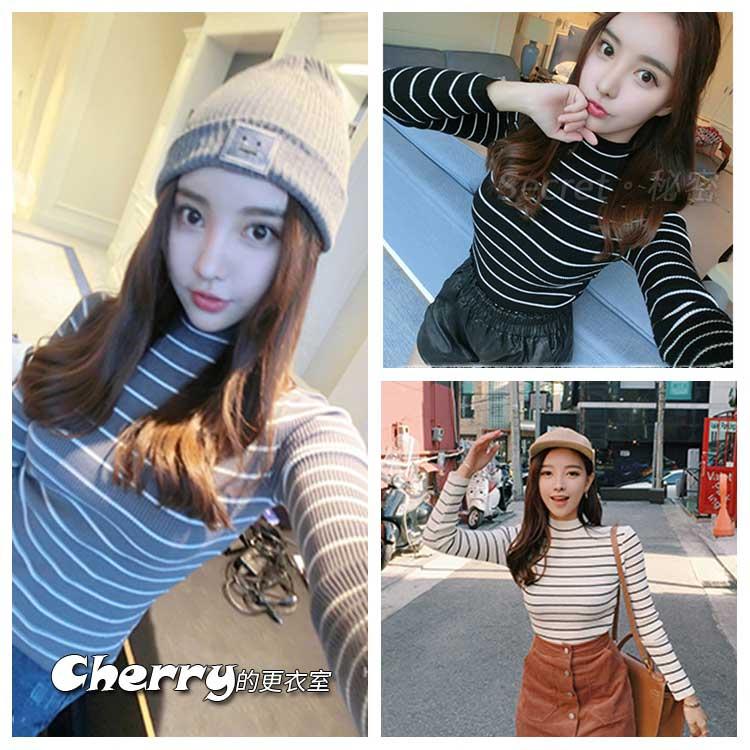 韓版高領套頭條紋打底衫上衣長袖針織衫