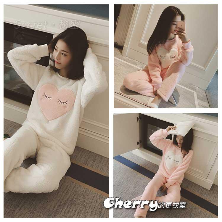 韓版長袖珊瑚絨毛絨保暖睡衣套裝兩件套