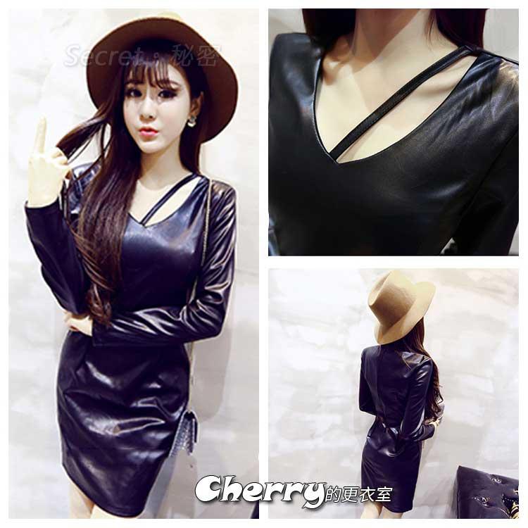 韓版性感V領斜肩帶長袖PU皮短裙包臀連身裙