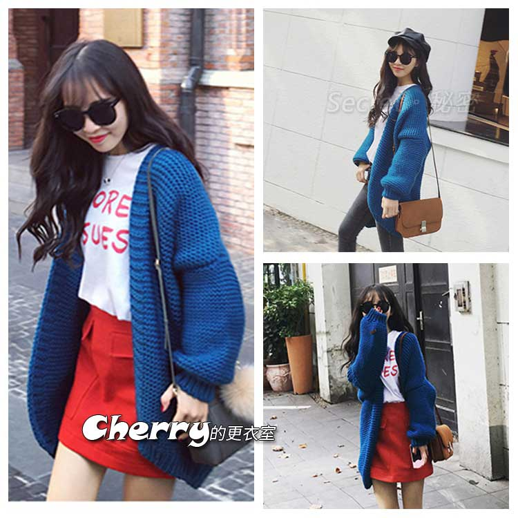 韓版寶藍色中長款加厚毛衣開衫針織外套