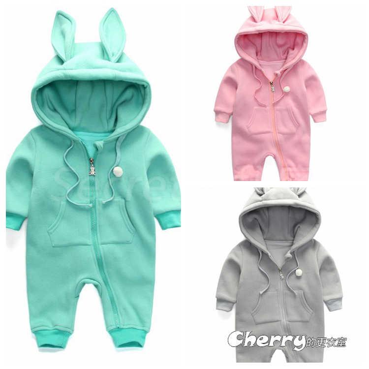 嬰兒純棉抓絨衛衣新生兒外出服男女寶寶兔耳朵裝連體衣雙層連身裝