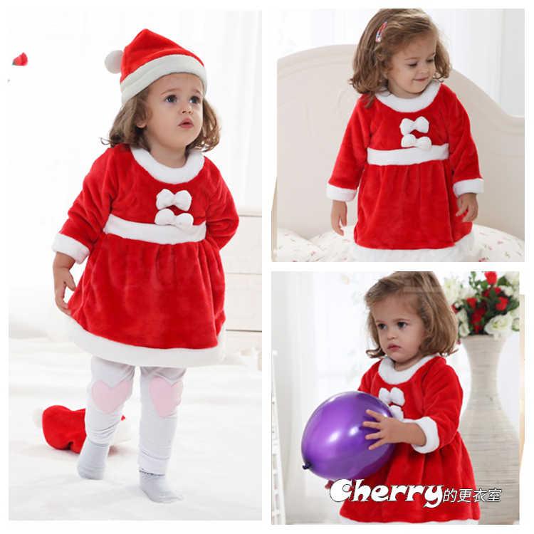 女寶寶加厚聖誕套裝耶誕裙棉衣套裝外出棉服連身裝