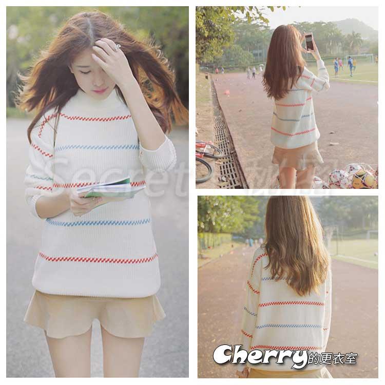 小清新韓版套頭彩色橫條紋毛衣T恤上衣