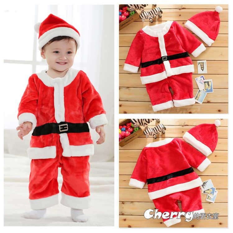 男寶寶加厚聖誕套裝耶誕褲棉衣套裝外出棉服連身裝