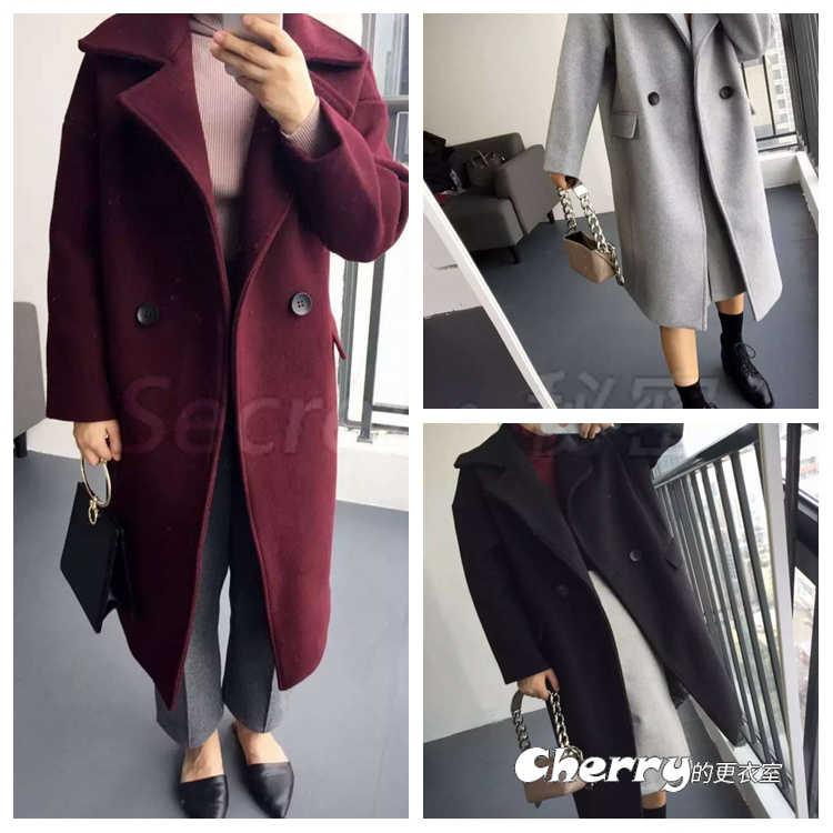 韓版翻領寬鬆雙排扣長款毛呢大衣呢子外套
