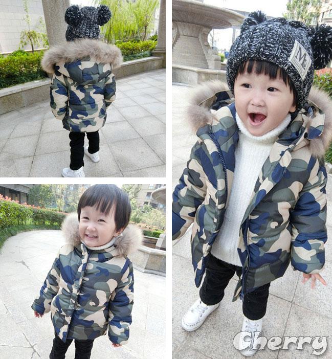 秋冬男寶寶迷彩毛領小外套