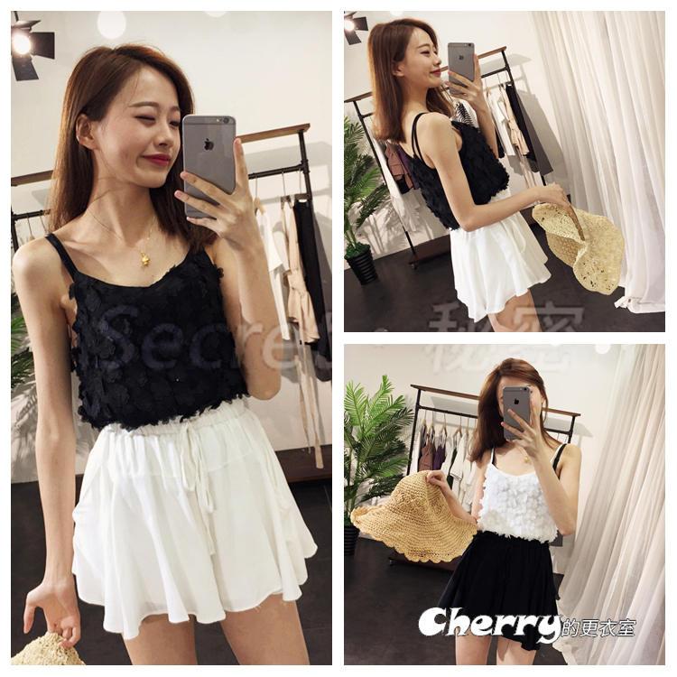 韓版雙層百褶裙半身裙A字褲裙