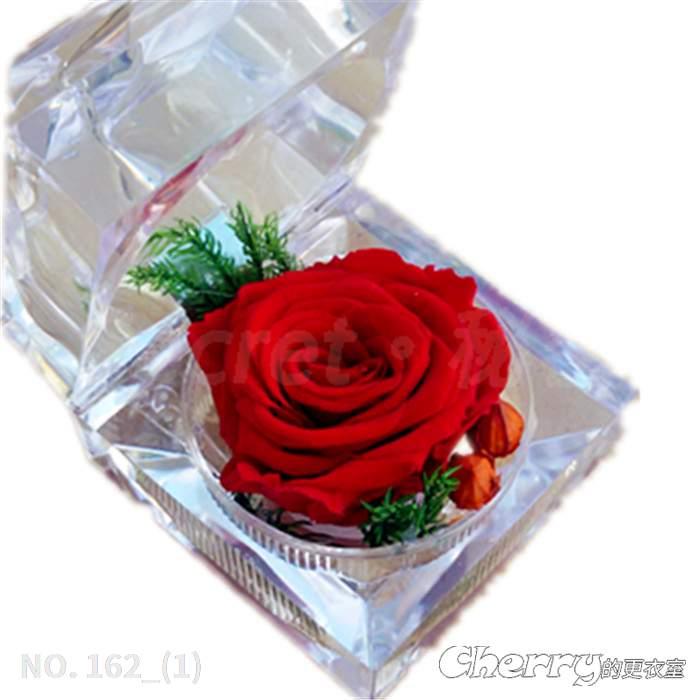 不凋謝心形玫瑰保鮮永生花戒指盒情人生日聖誕母親父親節求婚示愛高中大學研究所碩士博士畢業交換禮物