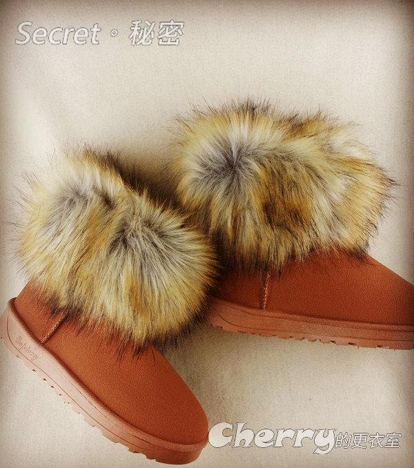 冬天保暖大狐狸毛毛甜美氣質雪地靴