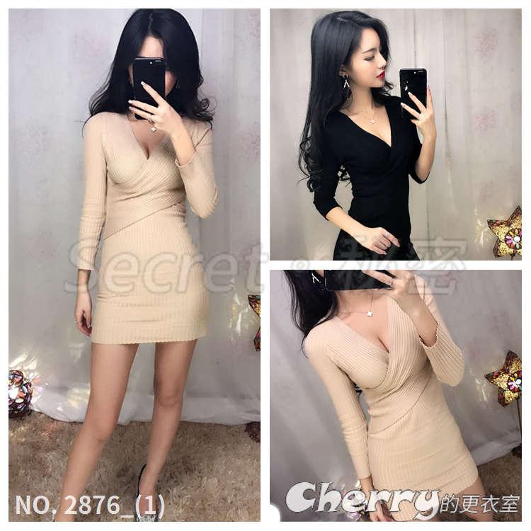針織交叉V領低胸連身裙高彈力性感純色百搭短裙