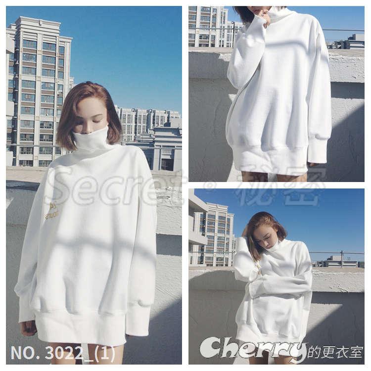 中長款bf風字母寬鬆刺繡套頭上衣高領白色長袖加絨休閒服