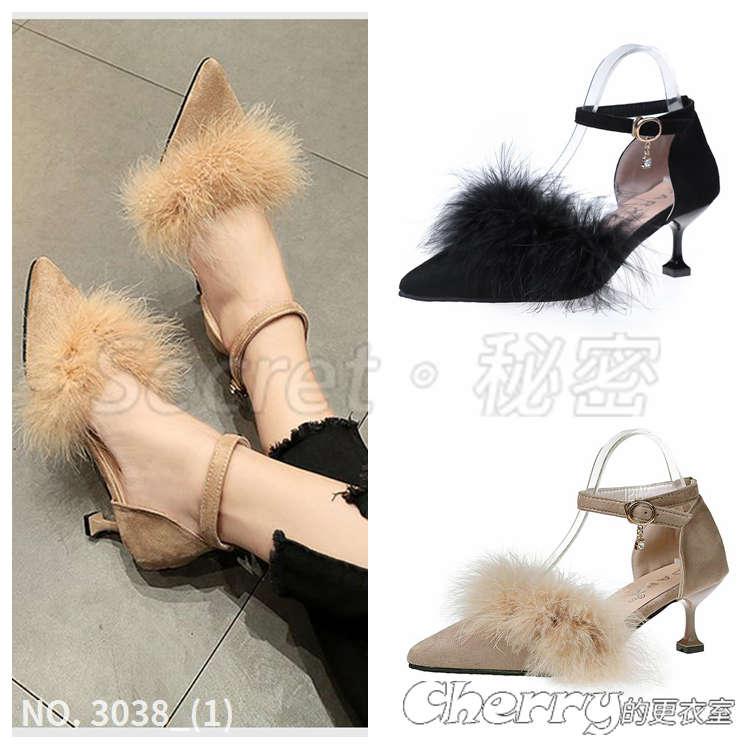 一字扣絨面毛毛尖頭鞋中空細跟貓跟鞋淺口高跟鞋