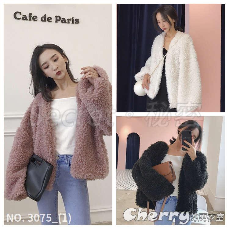 寬鬆毛絨羔羊毛長袖短款外套氣質純色上衣