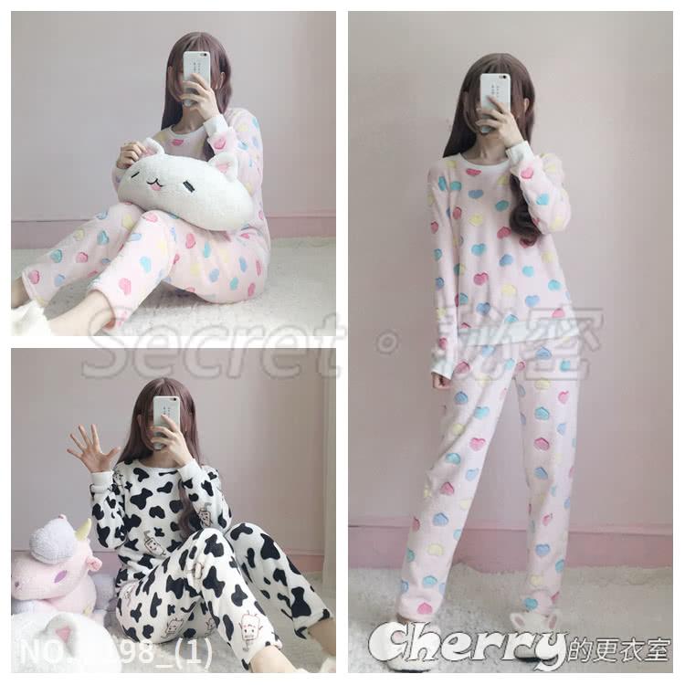 韓版寬鬆長袖可愛兩件套日系圓領家居服睡衣套裝