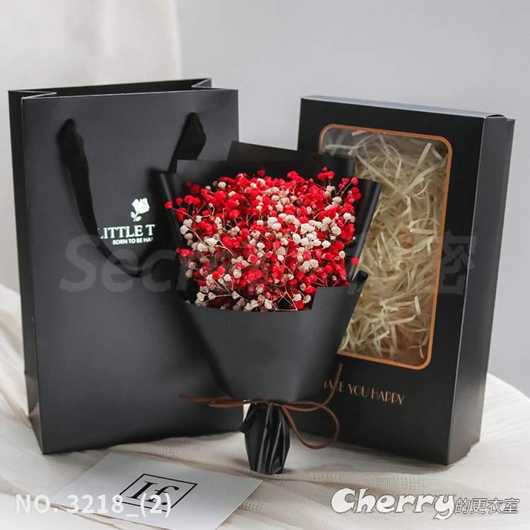 滿天星乾燥花勿忘我永生花禮盒花束交換生日畢業典禮情人節母親聖誕禮物 紅白滿