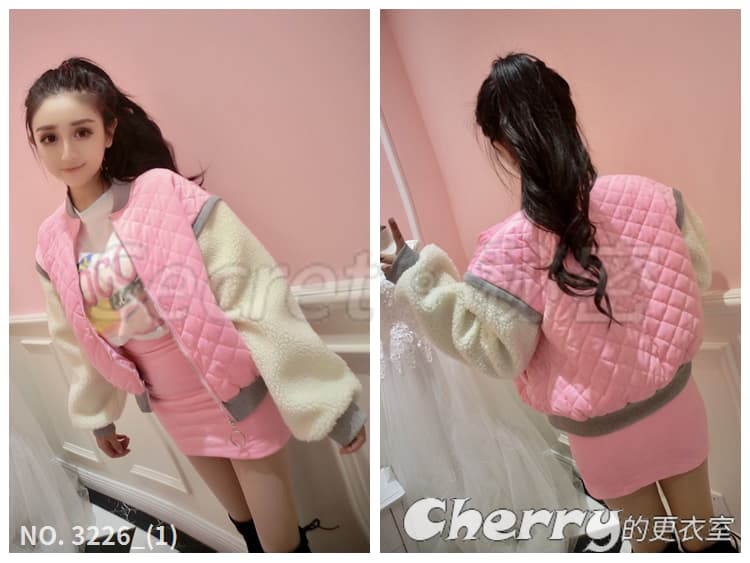 甜美日系毛毛袖棒球外套+包臀裙半身裙短裙套裝