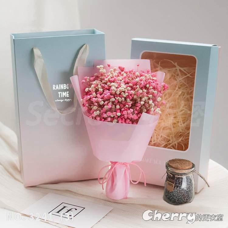 勿忘我乾燥花滿天星永生花薰衣草生日畢業典禮情人節聖誕禮物母親禮盒花束 粉白滿+薰瓶