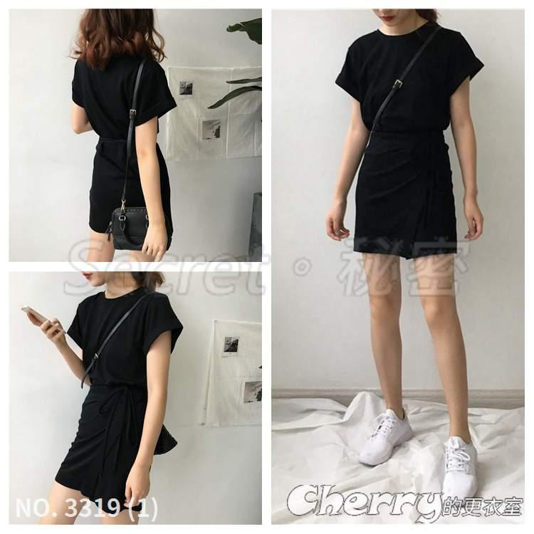圓領不規則拼接中長款T恤短袖繫帶連身裙