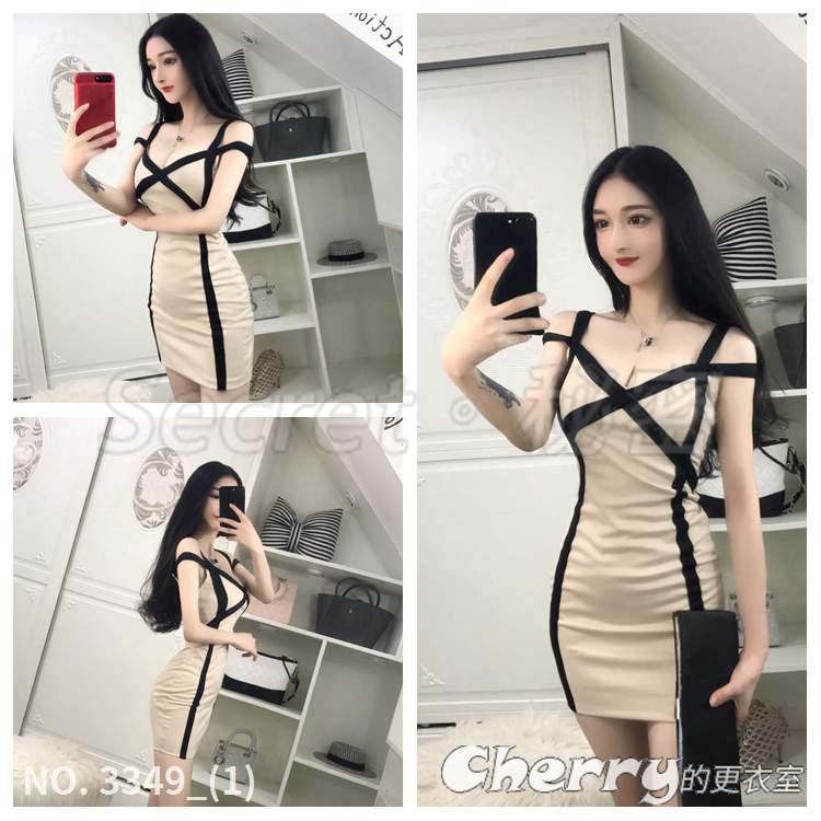 低胸無袖洋裝拼接色吊帶高腰包臀裙細肩帶連身裙