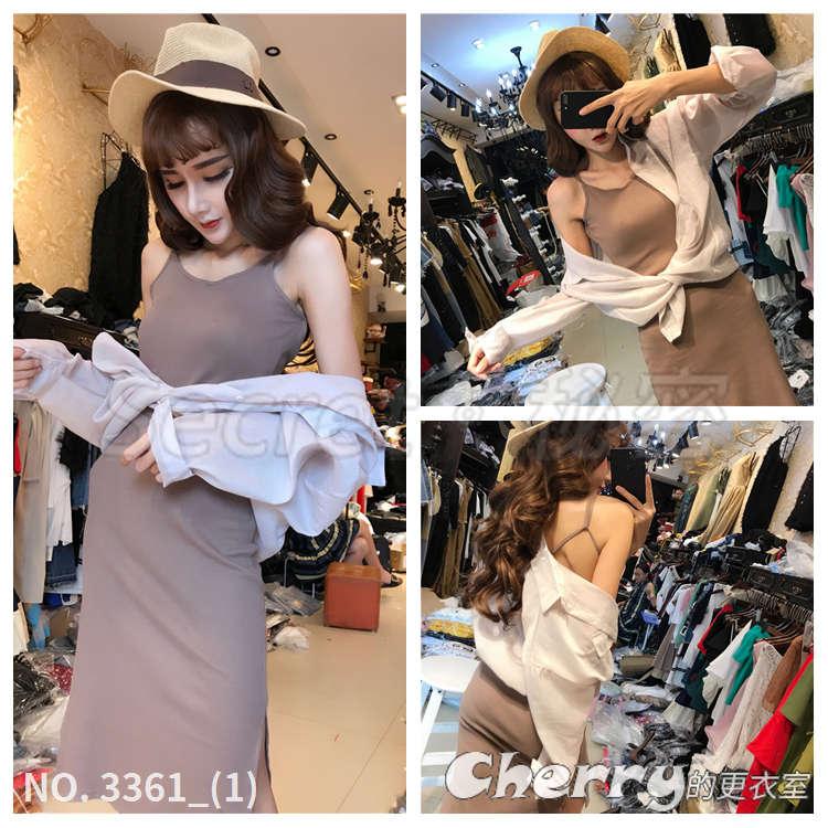 長袖顯瘦修身純色小外套 吊帶露背性感連身裙套裝