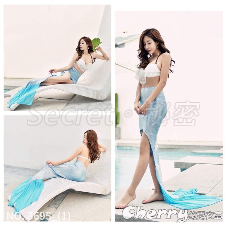 海邊度假沙灘裙美人魚泳衣寫真魚尾裙半身裙