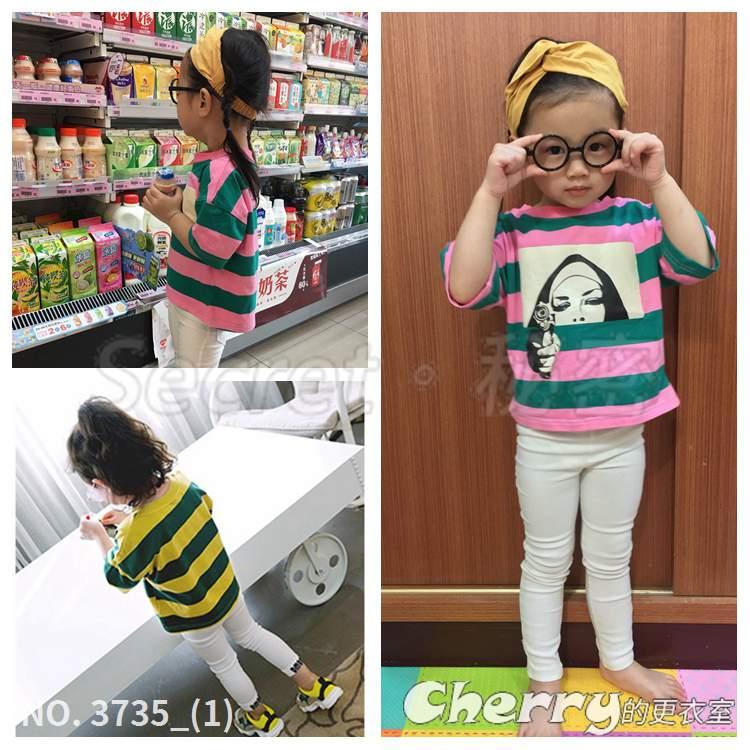 圓領橫條紋寶寶T恤兒童卡通短袖上衣印花圖案打底衫五分袖童裝