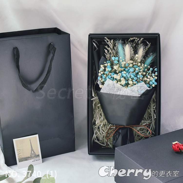乾燥花滿天星薰衣草勿忘我兔尾草永生花禮盒花束 生日情人節求婚禮物 藍白滿+兔尾草